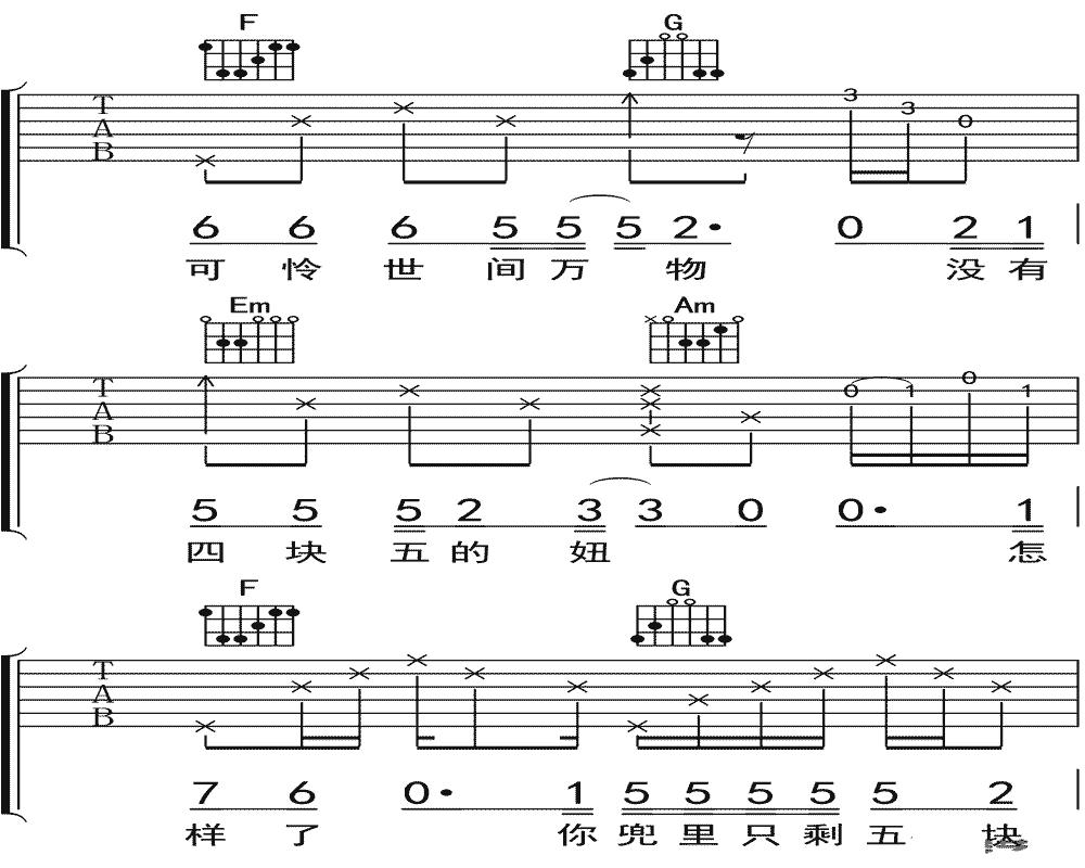 隔壁老樊《四块五的妞》吉他谱 C调吉他弹唱谱4