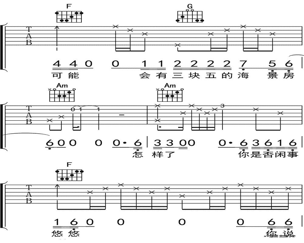 隔壁老樊《四块五的妞》吉他谱 C调吉他弹唱谱6