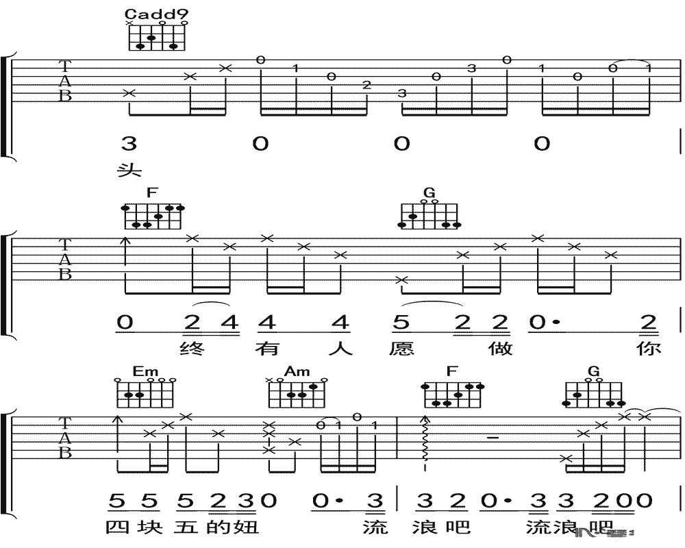 隔壁老樊《四块五的妞》吉他谱 C调吉他弹唱谱10
