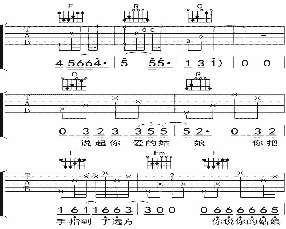 隔壁老樊《你是姑娘不是我的新娘》吉他谱 C调民谣吉他弹唱谱3