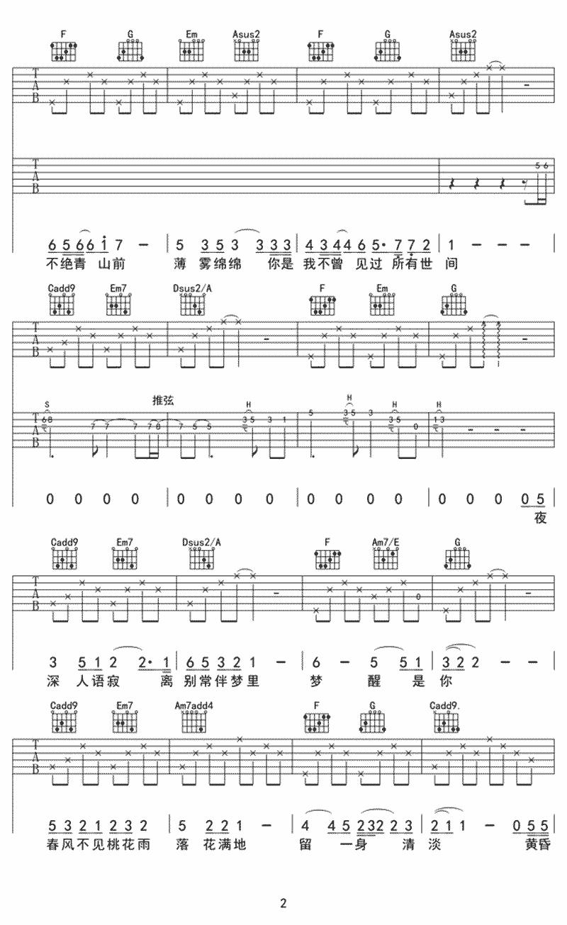 抖音王宇良《世间》吉他谱 C调吉他弹唱谱3