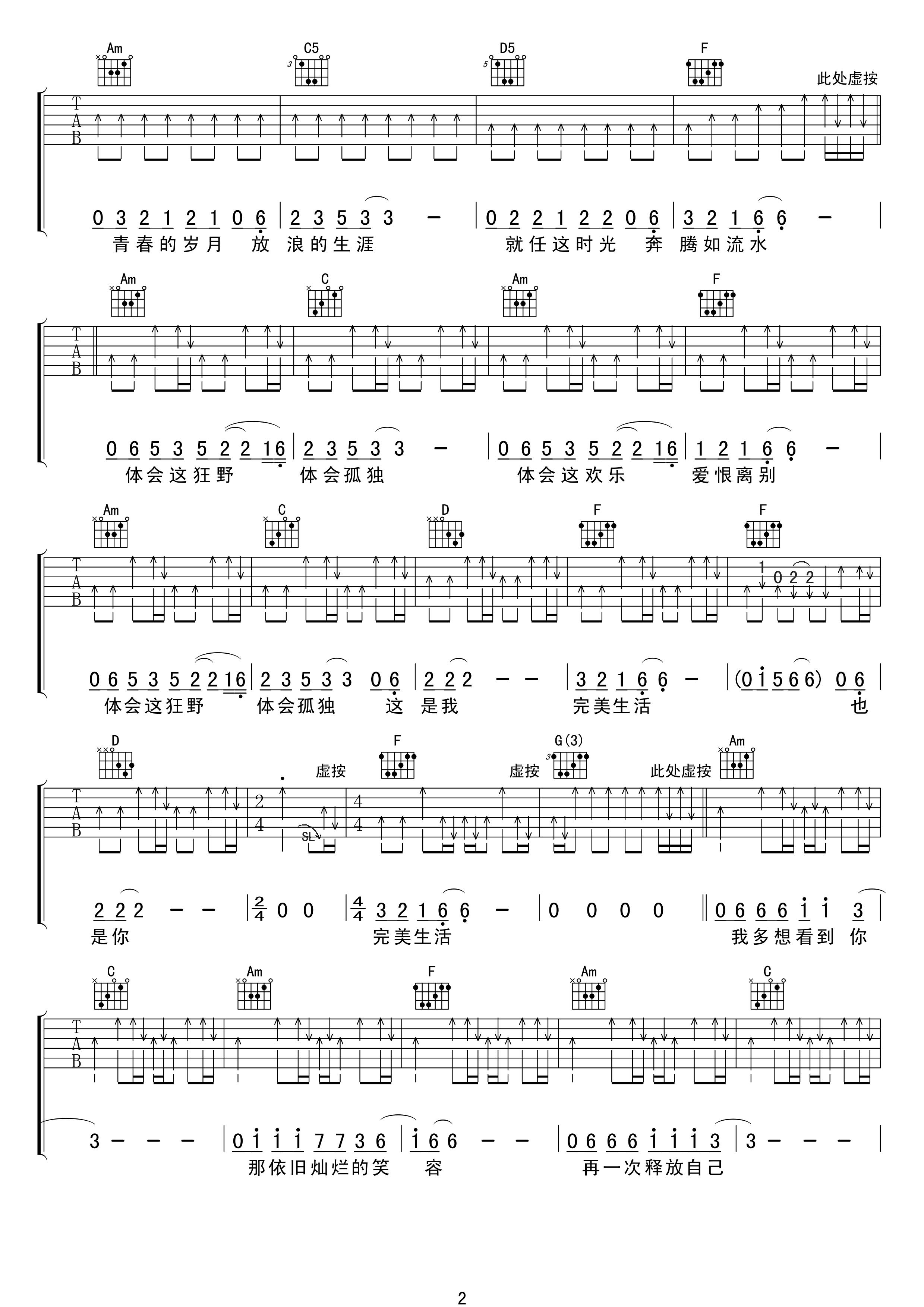 许巍《完美生活》吉他谱 C调原版吉他弹唱谱2